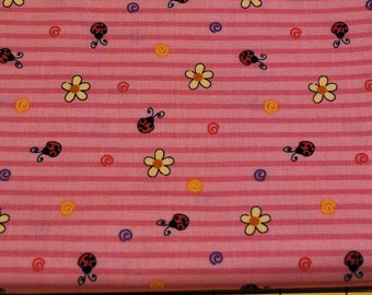 Fat Quarter Special Delivery Cute, Lady Bug and Daisy Pink Stripe