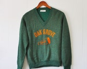 1960s retro Cheerleading, Pep Rally sweater, green Creslon, v-neck, Size M