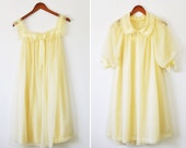 50s romantic yellow sheer nightgown set with robe by Henson Kickernick ribbon details, Size L
