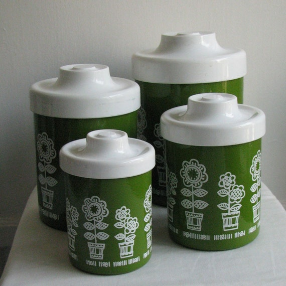 retro green and floral metal kitchen canisters