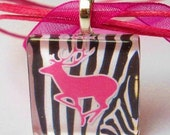 Pink Buck on Zebra Background with Pink Organza Necklace