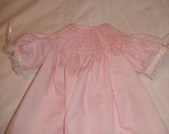 Ready to Smock 3m , 6m or 12m Bishop Style Dress Made to Order French Handsewn Sleeves