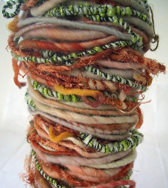 Handspun Art Yarn  Poquito Skein..Squiggles..19 yds