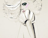 fashion illustration, fashion art, Pale, Cream, makeup, big hair print
