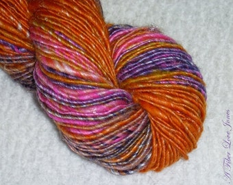 On and Poppin' Art Yarn - Handspun - Thick and Thin Spun - Singles - Thick and Thin - Luxury Blend - Knitting - Crochet - Weaving - Mixed Media - Fiber Arts - Textile Arts, etc.