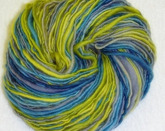 Happy Cool Art Yarn - 145 yards - Handspun - Single Ply - Thick and Thin Slub Yarn - Single Ply - Knitting - Crochet - Weaving, etc.