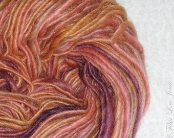 Plum Caramel - 144 yards - Handspun -  Single Ply - Thick and Thin - Knit - Crochet - Weave - Mixed Media - Fiber Arts, Textile Arts, etc.