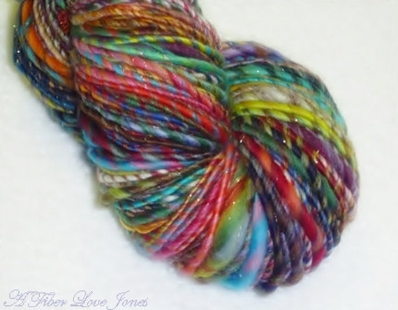 Nostalgic Gypsy Handspun Art Yarn - 137 yards - Thick and Thin - Knitting - Crochet - Weaving - Felting - Mixed Media, etc.