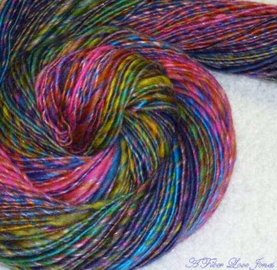 Dancing Hippies Handspun Art Yarn - 196 yards - Single Ply - Thick and Thin - Knitting - Crochet - Weaving - Mixed Media - Fiber Art