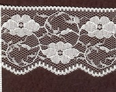 2 inch wide WHITE Flat lace trim 25 yds          (D597)