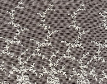 Vintage Cotton embroidered lace trim 7 inches wide   (2863)