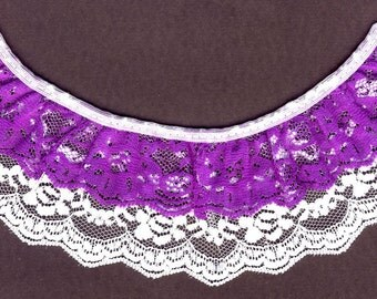 Double gathered lace trim White and Purple 15yd   (XD147)