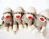 Handmade mini four socks monkeys for couples or great gifts for young children