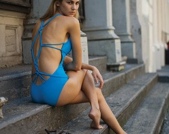 Knot-back Maillot in Turquoise - Clearance Sale!!