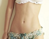 Silk Satin Liberty Print Underwear- 'Bloom' Ruffle Knickers SMALL