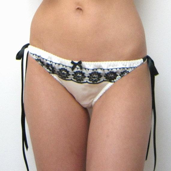 Silk and Lace Underwear- 'Belle De Jour' Knickers in Ivory