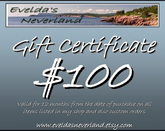 Gift Certificate Evelda's Neverland 100USD