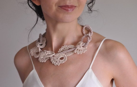Enchantment  - unique crocheted cotton lace and satin rope cord necklace