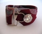 Vintage Tie bracelet with overall buckle- Unisex  (free shipping)