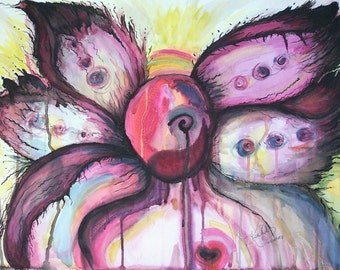 Pink Angel of Hope - Original Watercolor - 18 x 24 inches