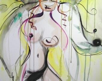 SALE 30 PERCENT OFF Rasta Faerie - Original Watercolor - 22 x 30 inches