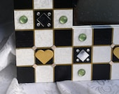 Checkerboard Mirror Black and White Hand Painted