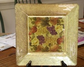 Decoupage Glass Plate in Gold Fruit and Floral Motif