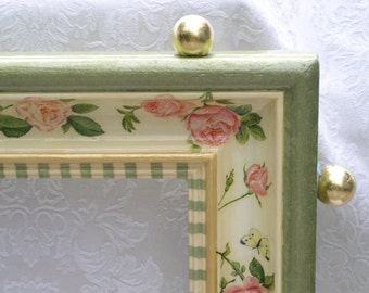 Hand Painted Mirror, Large - Pink Roses Green Border