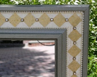 Hand Painted Mirror Frame  Harlequin Motif in Gold, Gray-Green, Cream