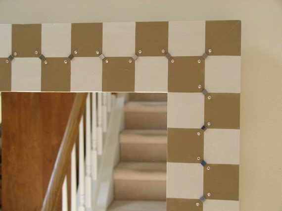 Hand Painted Checkerboard Mirror Beige and White