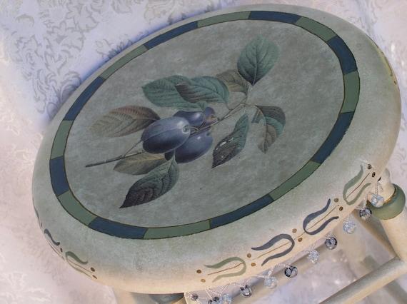 Reserved for Loretta - Hand Painted Bar Stool - Botanical Fruit Motif