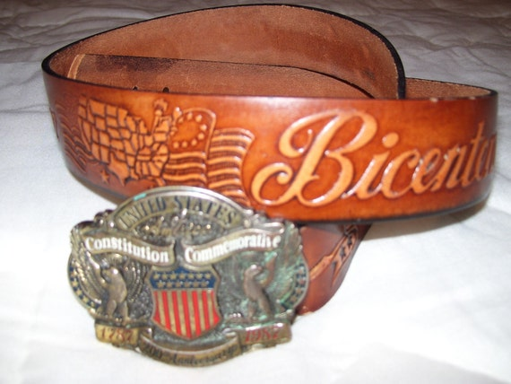 vintage Buckle and Belt  Patriotic Constitution Commemorative 200th Anniversary 1787-1987 United States of America