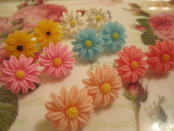 Blue Daisy Stud Earrings - Other colours available sale price - Reserved - do not purchase
