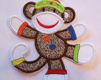 Sock Monkey - Iron On or Sew On Embroidered Custom made Applique