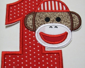Iron On Applique - Sock Monkey Birthday Number One