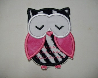 Iron on Applique - Owl in Hot Pink and Black