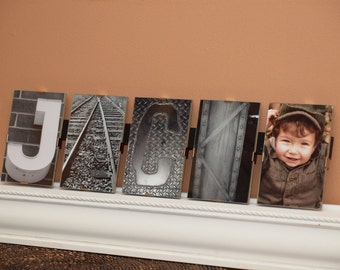 """Alphabet Photography - 5 letters-custom - floating frame, last name, first name, wedding, anniversary - 4""""x6"""" frames mounted & ready to hang"""