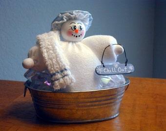 Snowoman Chills Out in Her Tin Tub; Keep Calm Snowman; Spa Snowman; Hot Flash Chiller; Stress Melt