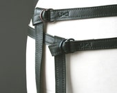 skinny double leather belt - DARK GREEN