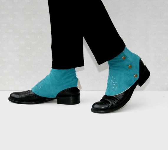 turquoise  suede spats