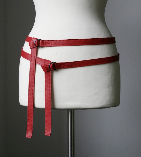 skinny double leather belt - RED