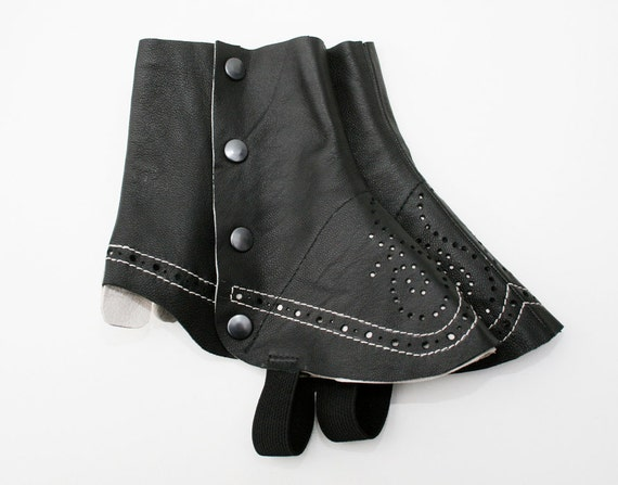 black/white leather spats