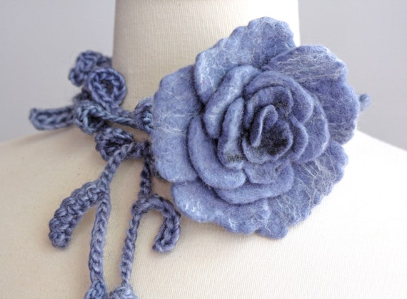 Felted Rose Flower with Long Crocheted Lariat\/Scarf\/Necklace\/Bracelet - Made To Order - made from Handmade Felt, Silk, Wool and Soy Yarn - in different shades of Gray, Gray Blue, Charcoal, bit of White - Inspired by Vintage Style Jewelry
