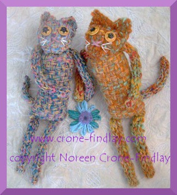 PDF pattern for Woven whimsical cat dolls by Noreen Crone-Findlay