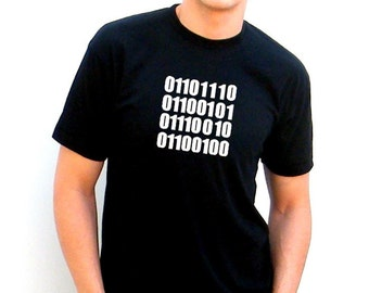 Bella Canvas Unisex Jersey Short Sleeve Mens Tshirt - NERD in Binary Code - extra small, small, medium, large, xl, 2xl
