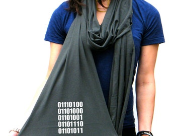 Think in (ASCII) Binary Code - American Apparel Scarf - Long and Light - His and Her