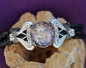 Amethyst Esme Leather Lace Bracelet - by  Last Day of Forever Designs
