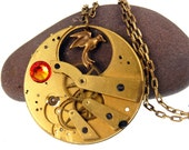 Tick Tock Quarter Quell Necklace - OOAK Steampunk Style Necklace - by TwilighterVA