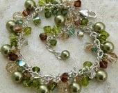 Autumn Bracelet, Green Pearl Bracelet, Cluster, Swarovski Crystals Olive, Chocolate Brown, Topaz, Wedding Jewelry, Handmade, Sterling Silver