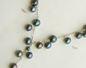 Freshwater Pearl Necklace, Sterling Silver, Multi-color pearls, Blue, Green, Purple, Custom Wedding Handmade Jewelry, Artisan, Luxe, Unique